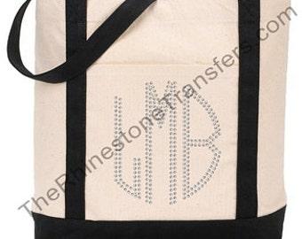 Rhinestone Monogrammed Tote Bag
