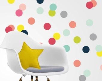 Colorful vinyl polka dots