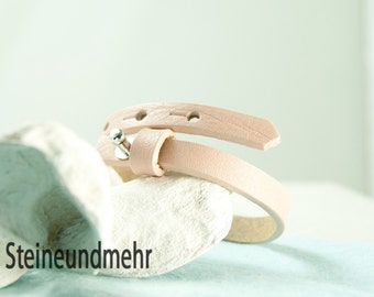 """bracelet leathercord Cuoio 6,3 - 7,8""""adjustable PINK summer #3515"""