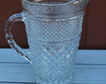 Vintage Anchor Hocking Wexford Crystal Glass Large Pitcher 1960s