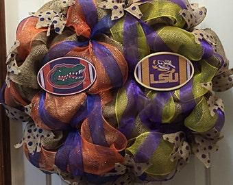 House Divided Wreath, LSU & Florida Gators, Football Wreath, College Wreath