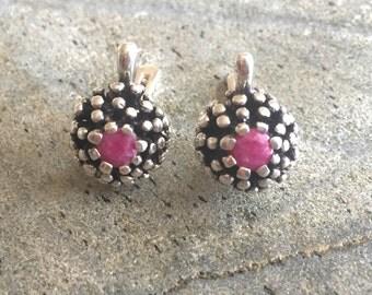 Ruby Earrings, Natural Ruby Earrings, Vintage Earrings, Antique Earrings, Natural Ruby, Vintage Ruby Earrings, July Birthstone, Pure Silver