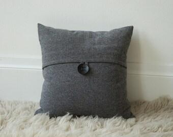 16x16 Herringbone Flannel button tab throw pillow cover