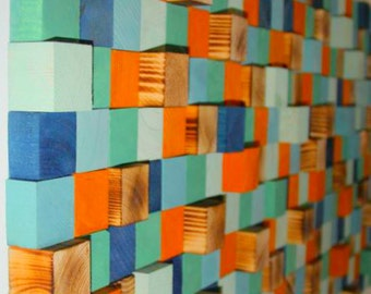Wood Wall Art, reclaimed wood art, industrial decor 3D Wood Wall Art, Wall Sculpture, wood mosaic, Reclaimed wood, geometric art