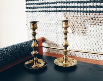 Solid Brass Candlesticks, Brass Candle Holders, Candlestick Holders, Pair of Brass Candlesticks