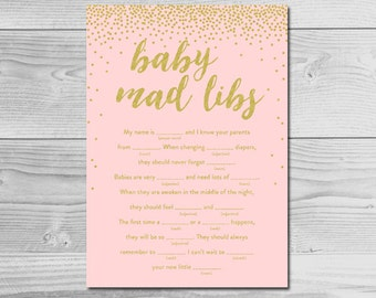 Blush Pink Gold Glitter Confetti Baby Shower Activity - Baby Mad Libs - Instant Download Printable - Baby Girl