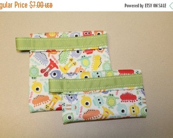 Back to School SALE snack bags, sandwich bags, lunch, bags, reusable monster
