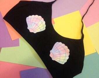 Mermaid shell halter crop top