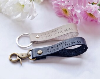Custom Mother of The Bride,Father of The Bride Gift,Personalized Leather Keychains in Black and White, Set of 2 Couple Gift
