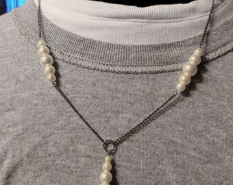 White pearl and silver pearl necklace with black chain and silver chain