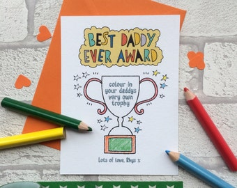 Personalised Best Daddy Ever Award Card - Fathers Day Card - Fathers Day Card From Toddler - Card For Fathers Day - Card From Children