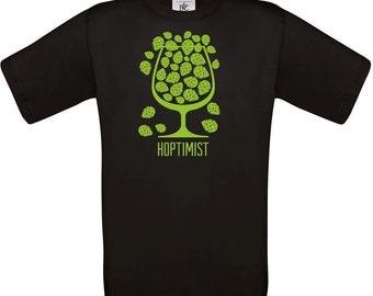 Hoptimist ( Black ), tshirt, men's tshirt, design tshirt, beer gift