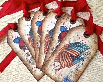 4th of July Tags - Set of 6