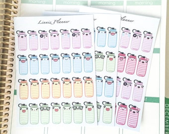 28 Cute Hydrate Bottles Kawaii (Matte planner stickers, perfect for planners)
