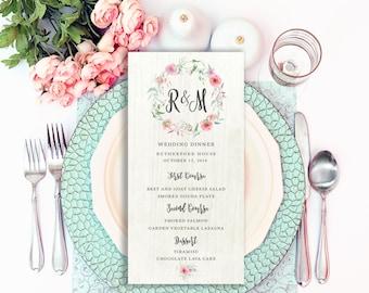 Menu Card Template, Wedding Dinner Menu, Rustic Wedding Menu, Printable Bar Menu, Menu Template, Wedding Bar Menu, Wedding Menu PDF