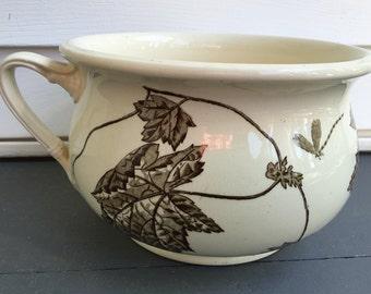 vintage Trentham chamber pot, P&B trademark, Oriental Ivory PBAS,  vine dragonfly motif