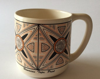 Vintage Hawaiian Tapa Print Palani Frank Coffee Cup Mug