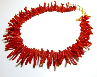 Italian Coral Stick branch Necklace 100% Natural Gemstone Size - 2x3 To 10x35 mm Approx  - Code - 0137