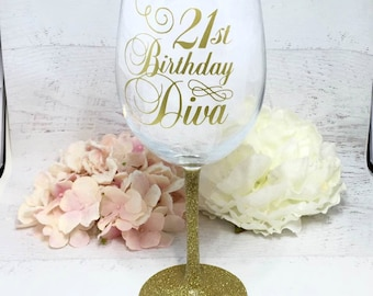 21st Birthday Wine Glass / Glittered Wine Glass / Girls Night Out