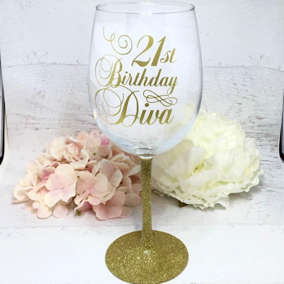 21st Birthday Wine Glass / Glittered Wine Glass / Girls Night