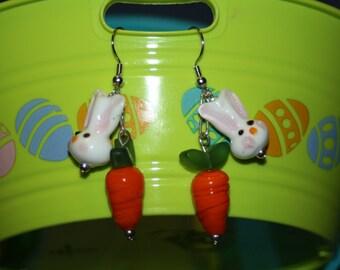 Glass Carrot & Bunny Earrings