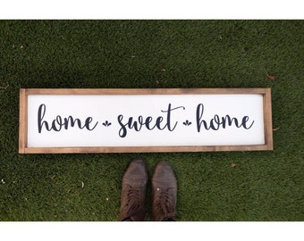 Large home sweet home // home decor wood sign // home sweet home sign // wood decor // housewarming gift