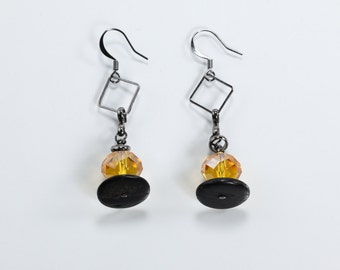 Wood & Glass Earrings, Gunmetal Earrings