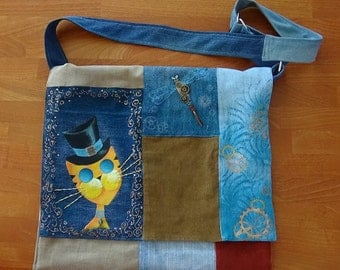 UniCat Bag - recycled denim, handpainted shoulder bag