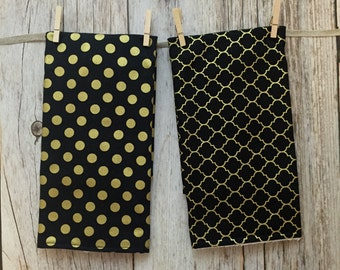 Two Baby Burp Cloths - Black and Gold Polka Dot and Quatrefoil - Baby Gift - Baby Girl Gift - READY TO SHIP