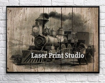 Train Wall Decor, Train Gift For Him, Train Wall Art, Steam Engine, Train Art Print, Poster Art, Train Decor, Train Gift Poster, Man Cave 2