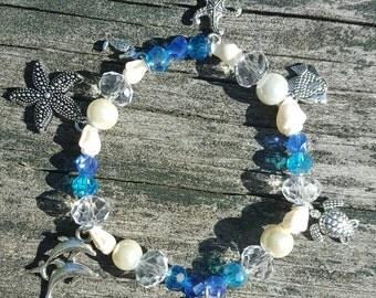 Crystal Mermaid Ocean Beaded Charm Bracelet