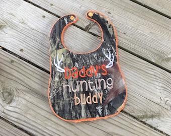 Daddys hunting buddy bib, camo bib, orange and camo bib
