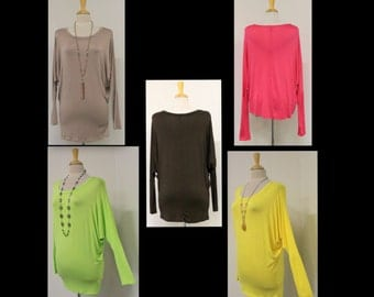 Over size Adorable and Comfortable  in solid colors Long Top. Regular Sizes