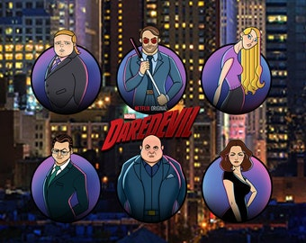 Postcard: Netflix Daredevil #1 main cast line-up, cartoon style, A6, high quality glossy postcard