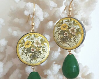 Caltagirone ceramics, jade drops earrings green and silver