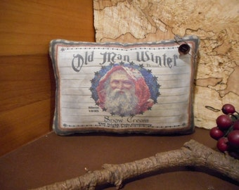 Christmas Santa Pillow Tuck: Primitive Rustic Christmas Santa  Americana Pillow Tuck.