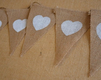 Rustic Wedding Burlap Bunting - White Hearts - Shabby Chic