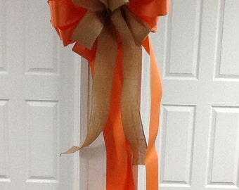 Fall orange and burlap outdoor bow