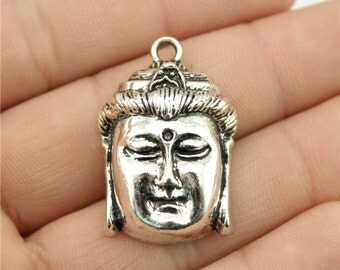 2 Buddha Head Charms, Antique Silver Tone (1F-69)
