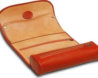 Jewelry Travel Roll Case Box Underwood London UN/208 Genunie Tan Leather