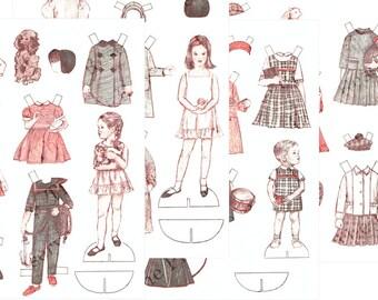 Paper Doll Kids 4 Pages Vintage Paper Dolls Printable Instant Digital Download