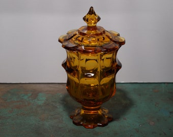 Amber Glass Candy Dish with Lid