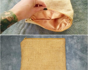 Burlap and Gold zipper pouch