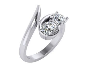 Solitaire Diamond Ring, Solitaire Diamond Engagement Ring, Two Stone Solitare Diamond Engagement Ring in 14k white gold.