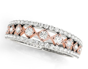 Rose gold Wedding Band, White and Rose Gold Diamond Ring, Unique Diamond Ring, Rose Gold Wedding Ring, Rose Gold Diamond Ring.