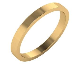 Gold Wedding Band, Simple Gold Wedding Ring, Flat 2 mm Gold Band, Flat 2mm Gold Ring, 2mm Wedding Band, 2mm Wedding Ring