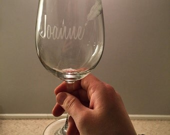 Personalized etched wine glass for writers