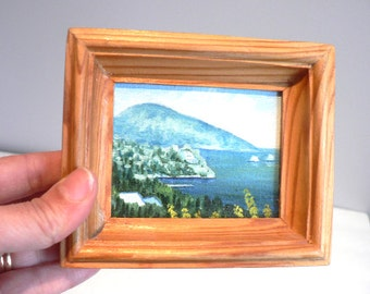Original Miniature Oil Painting Mountain Coast Village Landscape Small Painting