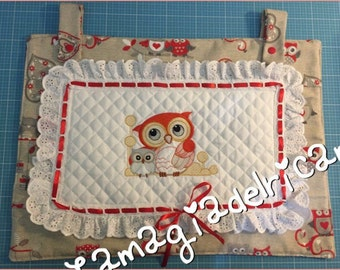 Embroidered handmade owls oven and cover
