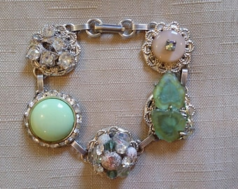 Sparkly Mint Green and Peach Vintage Clip Earring Bracelet